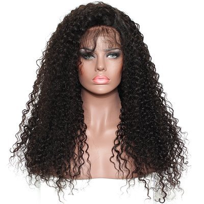 250% Density Culry Full Lace Frontal 13*6 Wig Human Hair With Baby Hair Can Be Dyed