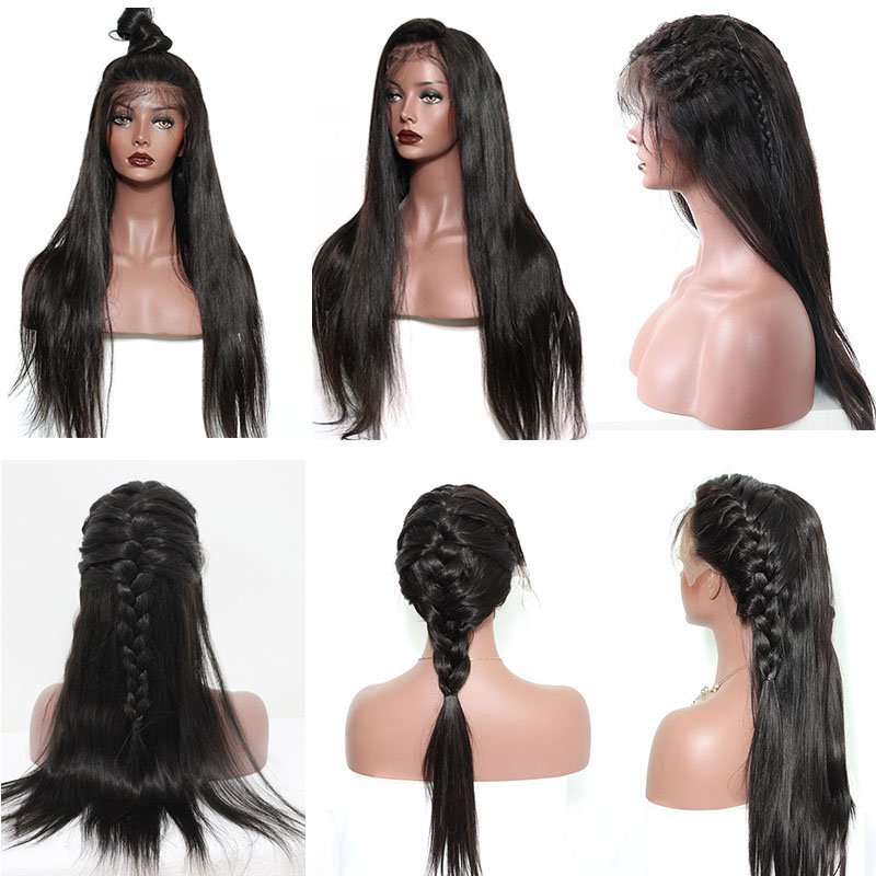 360 Lace Frontal Wig Pre Plucked Straight Human Hair 150%-250% Density