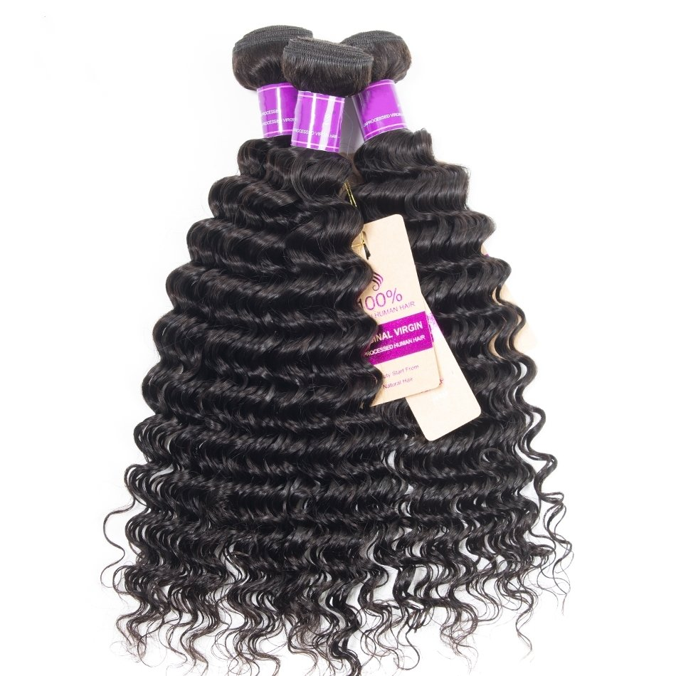 3PCS Mink Deep Wave Human Virgin Hair Bundles