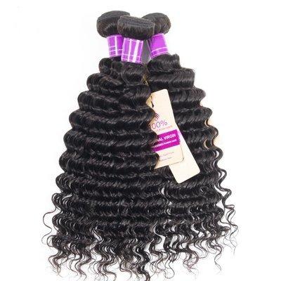 3PCS Mink Deep Wave Human Virgin Hair Bundles
