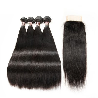5 PCS/LOT Bundles Straight Unprocessed Human Hair Extension with Lace Closure Transparent Lace is Available