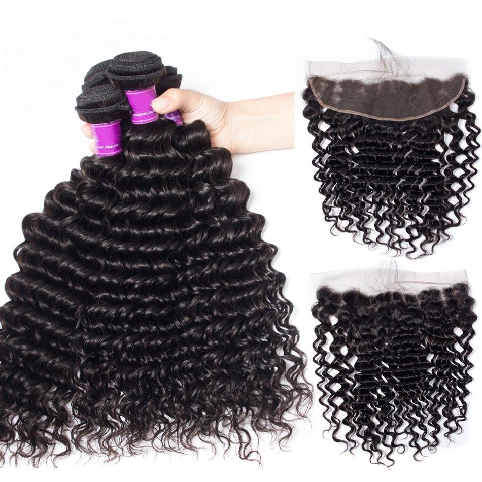 5PCS/LOT Virgin Hair Deep Wave with lace Frontal Ear to Ear Lace Frontal 13x4 Frontal With Bundles Deals