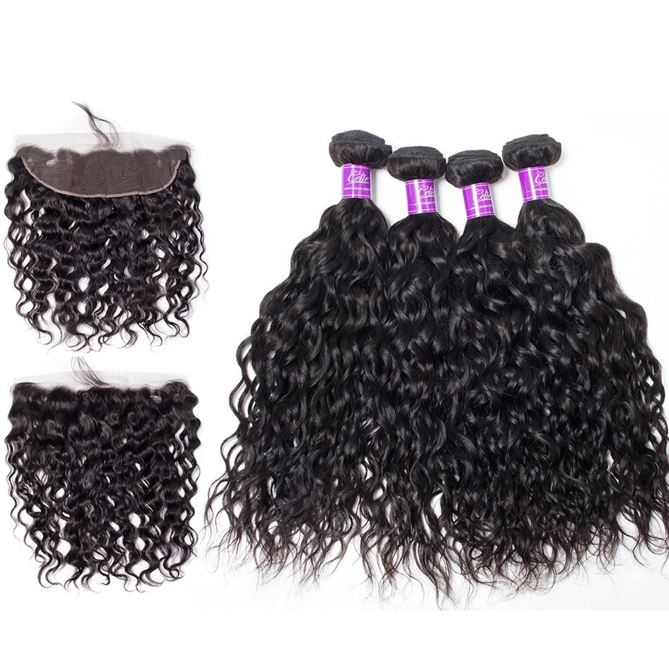 5PCS/LOT Virgin Hair Natural Wave with lace Frontal Ear to Ear Lace Frontal 13x4 Frontal With Bundles Deals