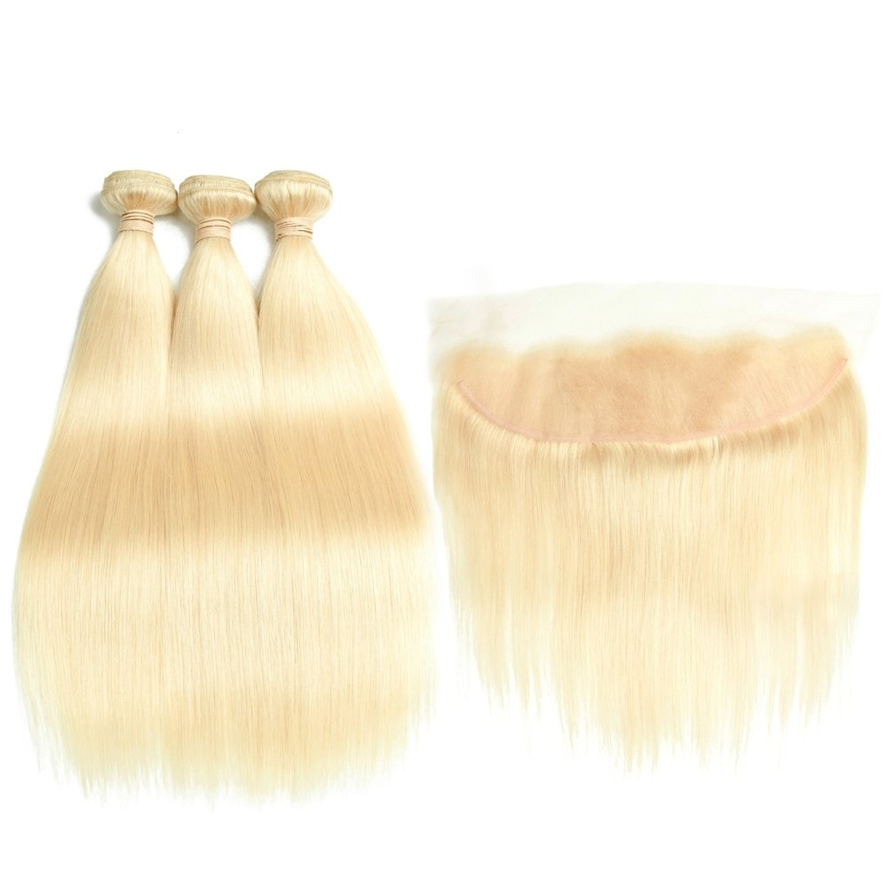 4 PCS/LOT Straight Indian Virgin Hair with Frontal 13*4 can be dyed into light color