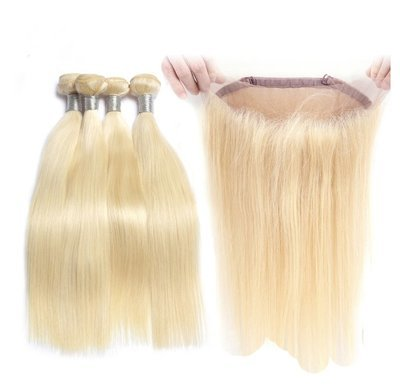 360 Frontal with 4 Bundles Straight Caucasian Hair can be dyed into light color