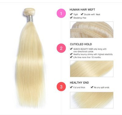 1PC  Straight Blonde Human Hair Bundle can be dyed into light color