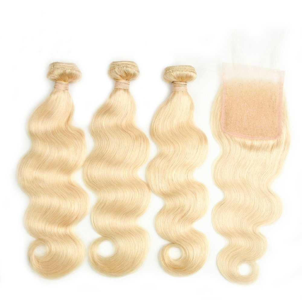 4 PCS/LOT Body Wave Blonde Hair bundles with 4 x 4 Lace Closure Human Hair Can be dyed into Light color