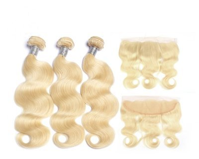 4 PCS/LOT Body Wave Indian Virign Hair with Frontal 13*4 can be dyed into light color