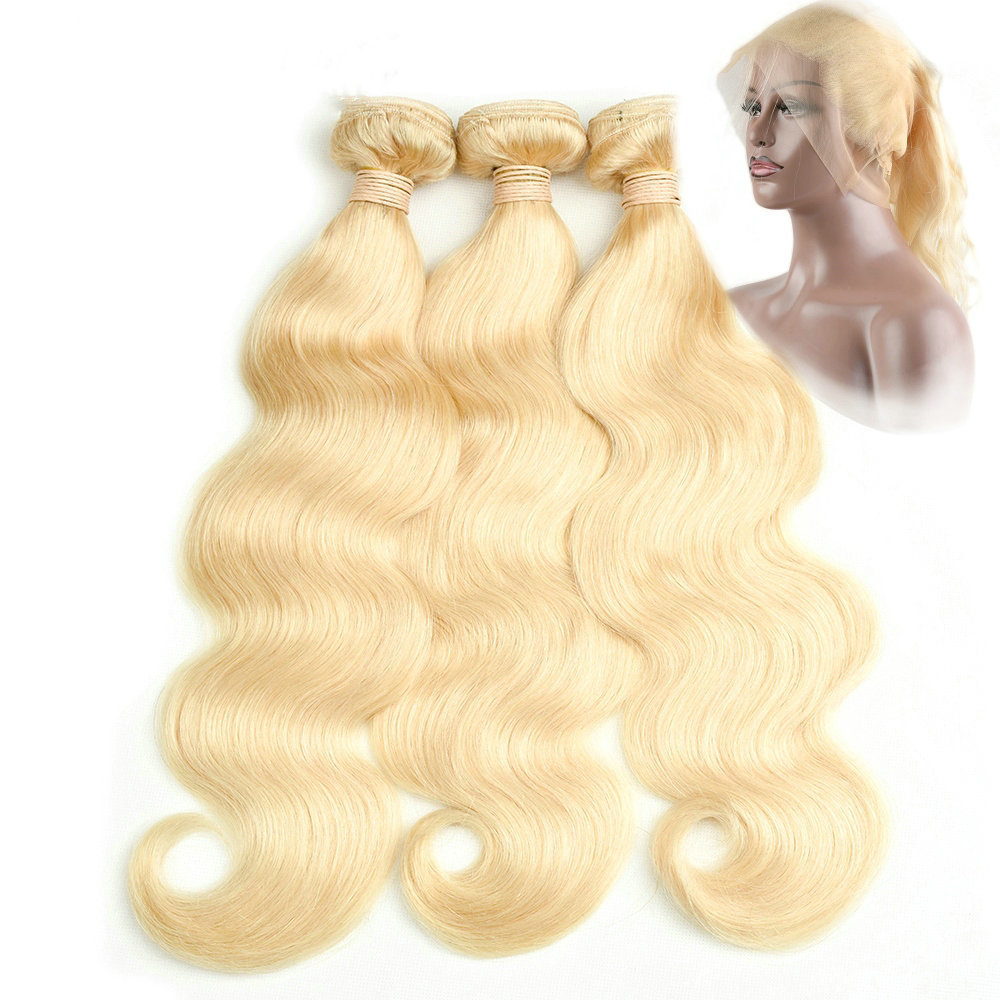 360 Frontal with 3 Bundles Body Wave Caucasian Hair can be dyed into light color