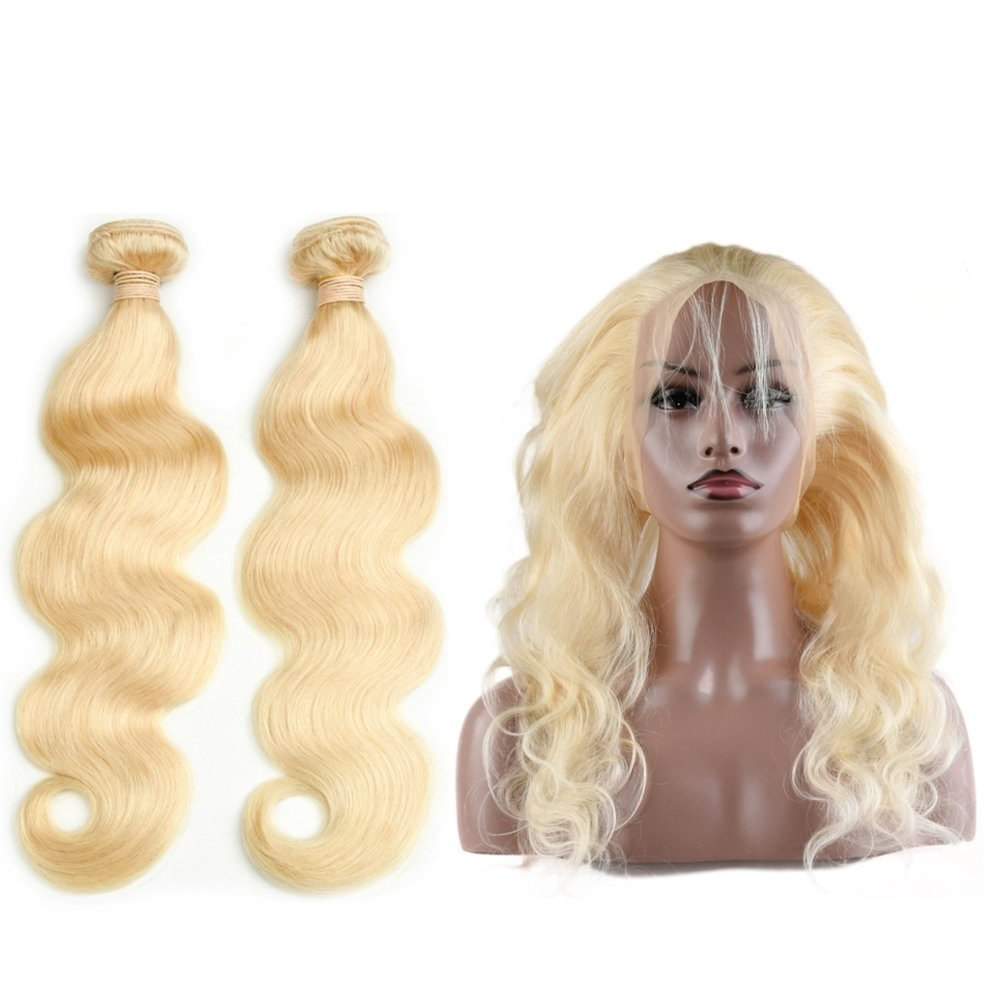 360 Frontal with 2 Bundles Body Wave Caucasian Hair can be dyed into light color