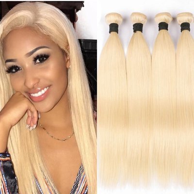 4PCS Straight Caucasian Blonde Human Hair Bundles can be dyed into light color