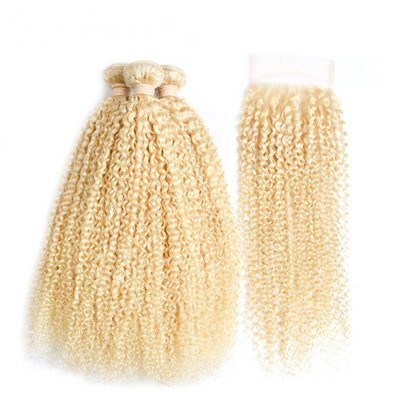 Free Shipping 4 PCS/LOT Curly Hair bundles with Lace Closure Caucasian Blonde Human Hair Can be dyed into Light color