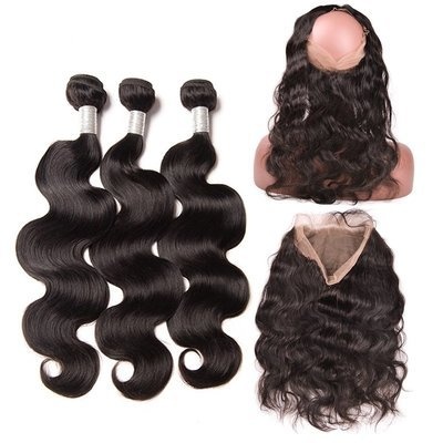 4 PCS/LOT Body Wave 360 Lace Frontal Closure With 3 Bundles Virgin Human Hair Weaves