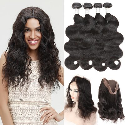5 PCS/LOT Body Wave 360 Lace Frontal Closure With 4 Bundles Virgin Human Hair Weaves