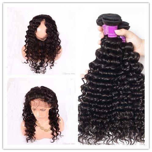 4 PCS/LOT Deep Wave 360 Lace Frontal Closure With 3 Bundles Virgin Human Hair Weaves