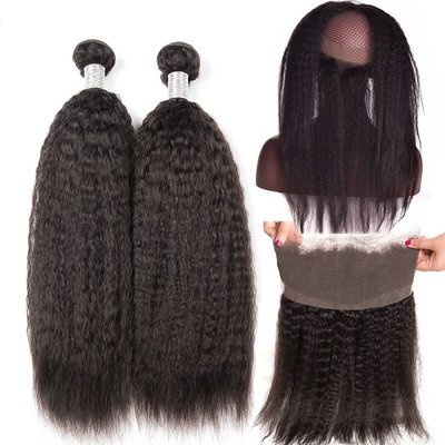 3 PCS/LOT Kinky Straight 360 Lace Frontal Closure With 2 Bundles Virgin Human Hair Weaves