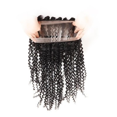 4 PCS/LOT Kinky Curly 360 Lace Frontal Closure With 3 Bundles Virgin Human Hair Weaves