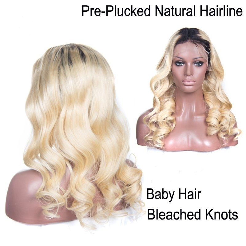 Loose Wave Caucasian T 1B/613 Blonde Color with Dark roots Pre Plucked Full Lace Frontal Wig Human Hair With Baby Hair