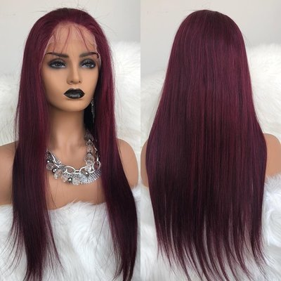 99J Burgundy Pre-Plucked Straight Full Lace Frontal Wig Human Hair With Baby Hair