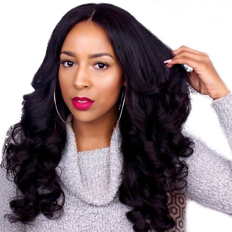 360 Lace Frontal Wig Loose Wave Pre Plucked Human Hair 150%-250% Density