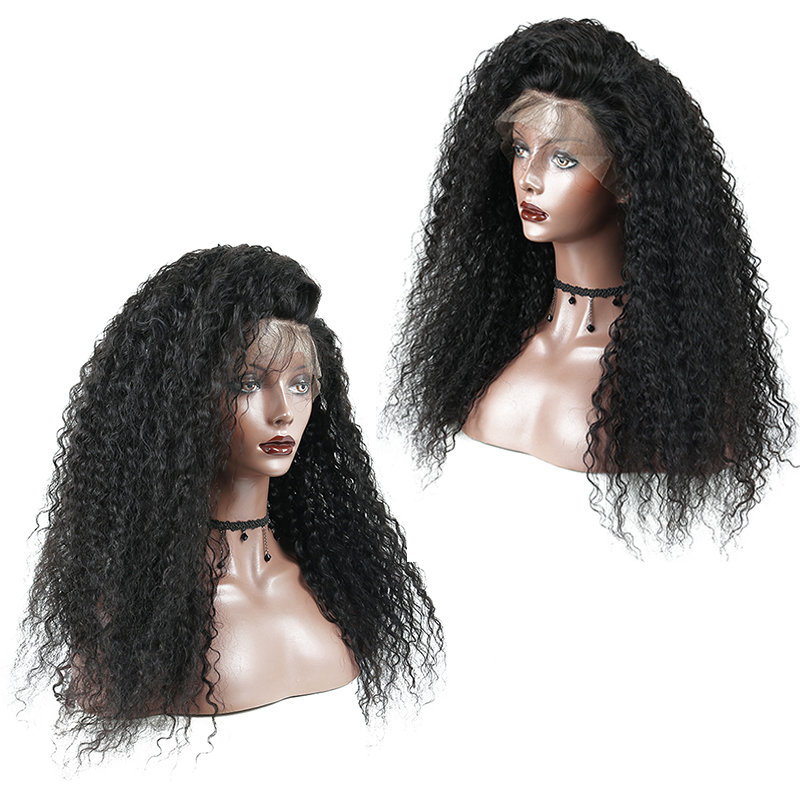 360 Lace Frontal Wig Kinky Curl Pre Plucked Human Hair 150%-250% Density