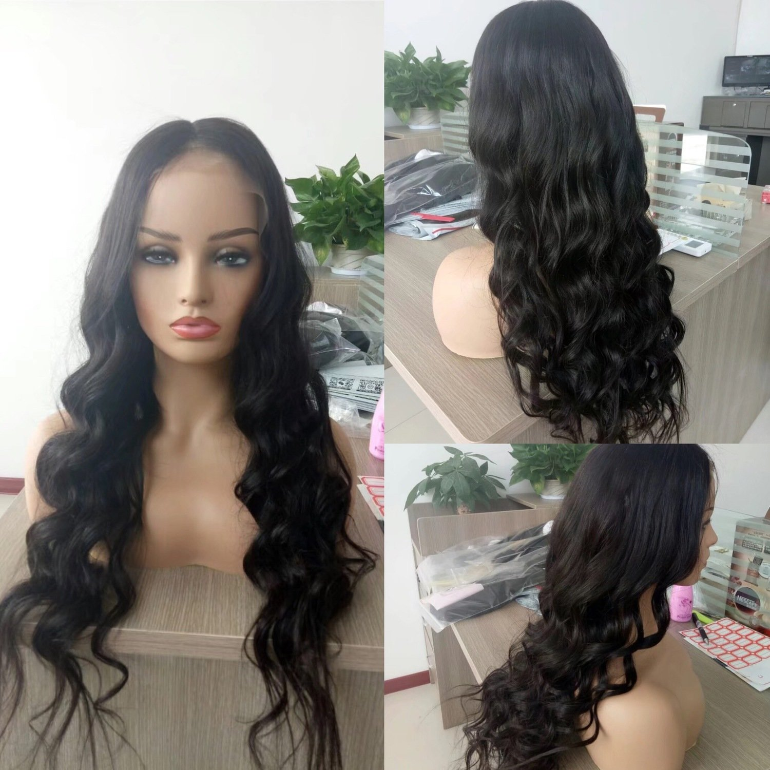 Full Lace Frontal Wig Loose Body Wave Human Hair Pre-Plucked Natural Hairline