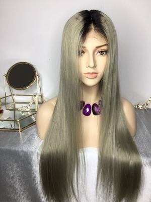 Dark Grey Color with Dark Roots Pre Plucked Full Lace Frontal Wig Human Hair With Baby Hair