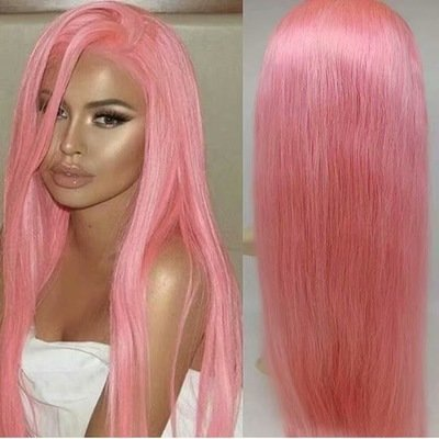 Pink Color  Pre Plucked Full Lace Frontal Wig 100% Human Hair