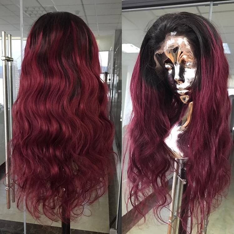 Burgundy Pre-Plucked Full Lace Frontal Wig Human Hair