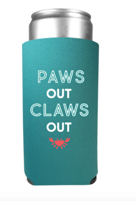 Paws Out Claws Out White Claw Slim Can Koozie