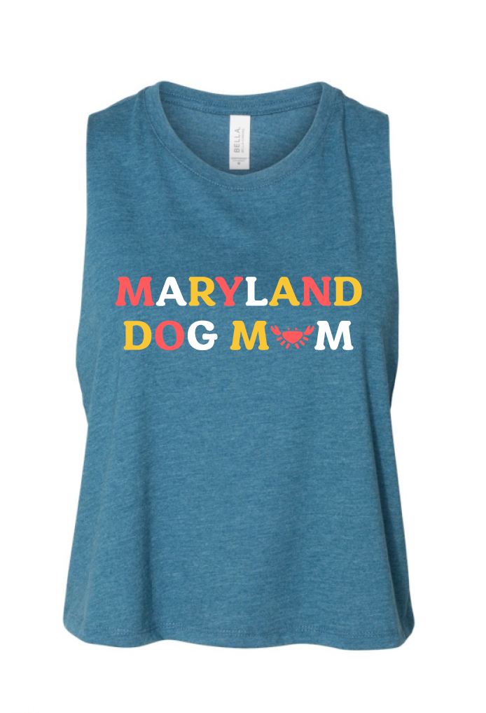 Maryland Dog Mom Racerback Cropped Tank Top
