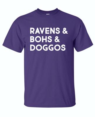Ravens & Bohs & Doggos Short Sleeve Purple Tee