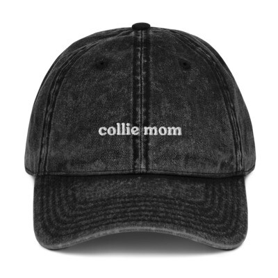 Collie Mom Vintage Denim Mom Hat