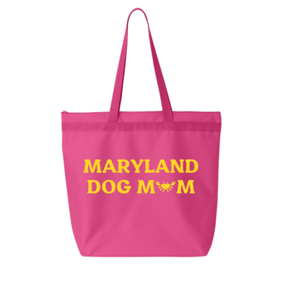 Maryland Dog Mom Jumbo Zipper Tote Bag