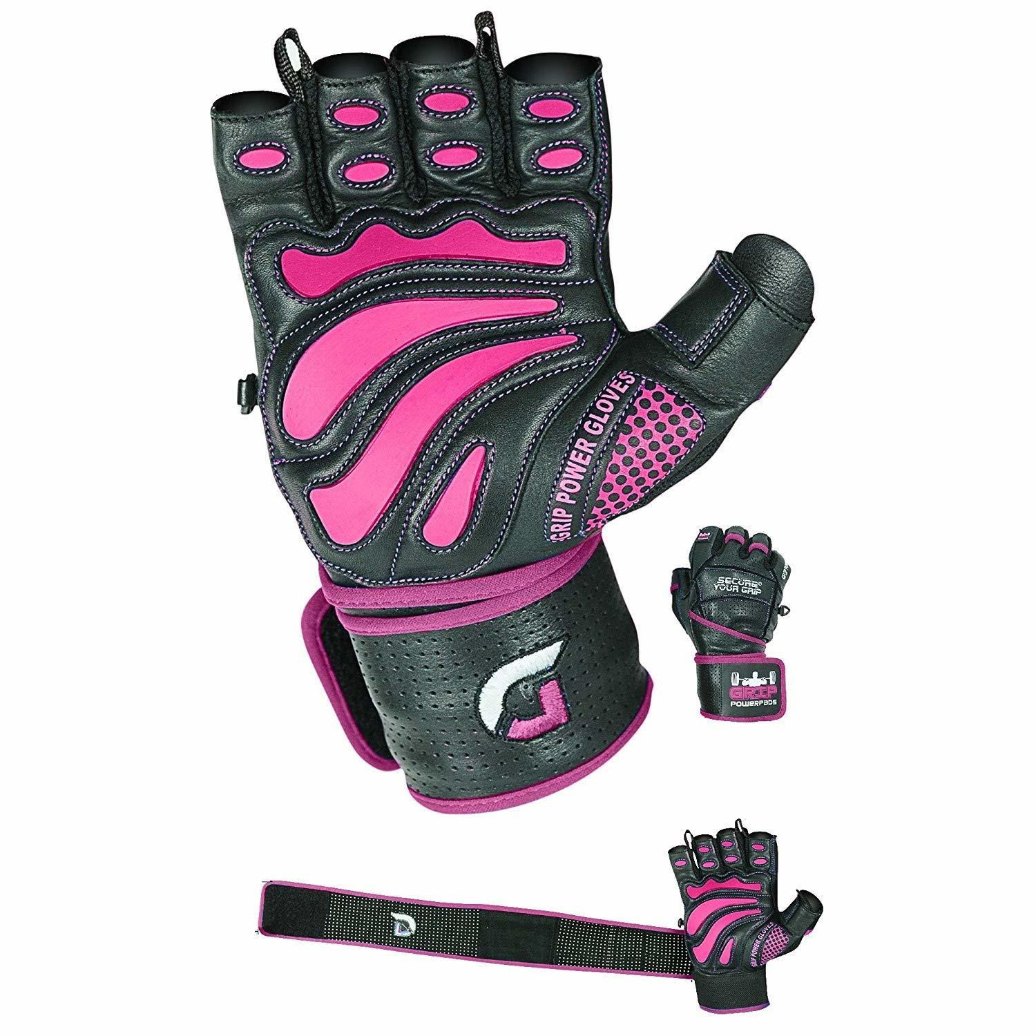 """Women Elite Leather Gym Gloves with Built in 2"""" Wide Wrist Wraps Design for Weight Lifting, Power Lifting, Bodybuilding & Strength Training Workout Exercises"""
