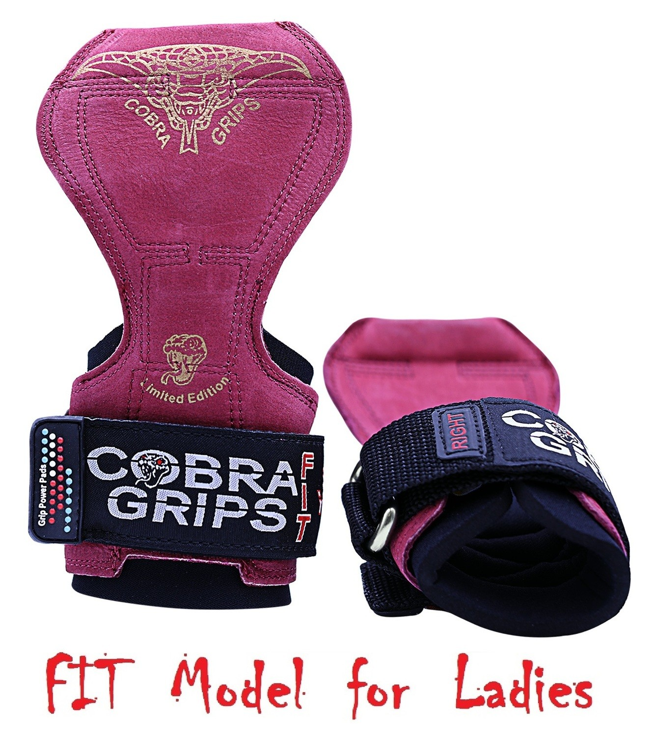 Cobra Grips FIT Red Leather Weight Lifting Straps Hooks Alternative, Power Lifting