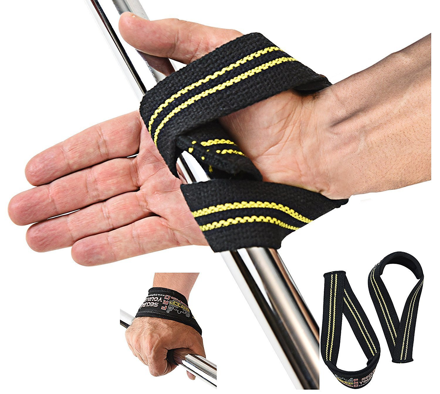 Triangle Quick Lifting Wrist Straps Weightlifting Heavy Duty Neoprene Padded 1 Pair Cotton Wraps Grip Support Grip Pad Pads (Black & Yellow)