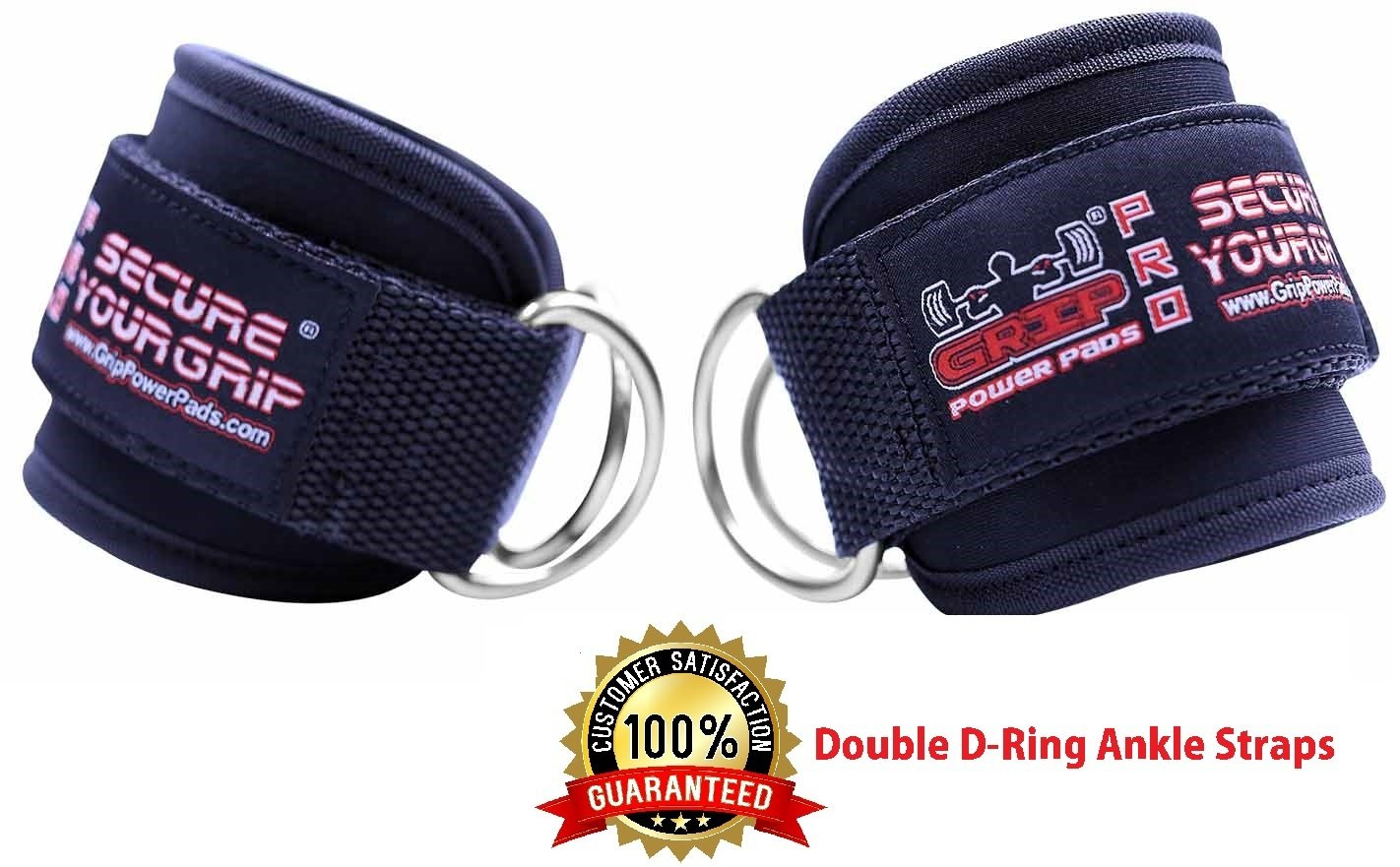 Ankle Straps for Cable Machines Double D-Ring Adjustable Neoprene Premium Cuffs to Enhance Legs, Abs & Glutes For Men & Women