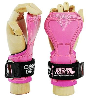 Cobra Grips FIT Pink Rubber Weight Lifting Grips, Straps Hooks Alternative, Power Lifting.