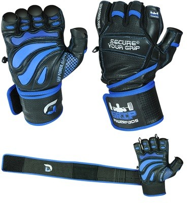 Grip Power Pads Elite Leather Gym Gloves with Built-in 2 Inches Wide Wrist Wraps