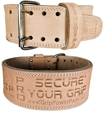 "Weightlifting Belt Double PRONG 100% Real Genuine Leather Individually Handmade 13MM Thick 4"" Wide"