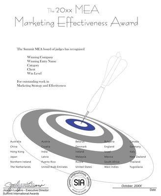 Marketing Effectiveness Award Certificate