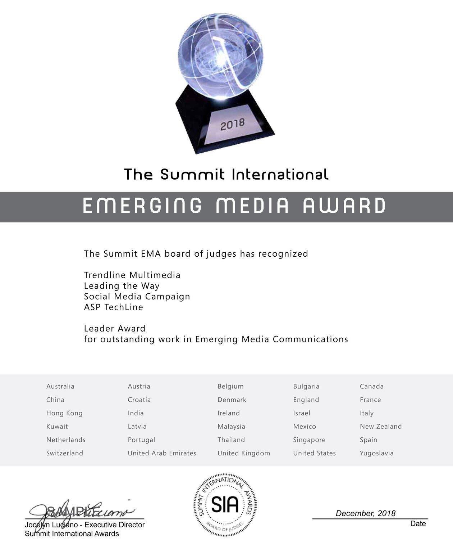 Emerging Media Award Certificate