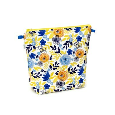 Watercolor Flowers - Yellow & Navy - Tall Wedge
