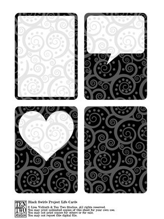 Black Swirl Journaling Cards