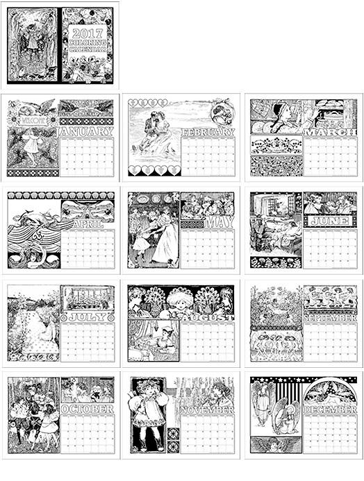 2017 Coloring Calendar
