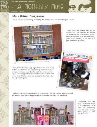 August – Glass Bottles Everywhere