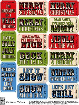 Christmas Saying Tickets