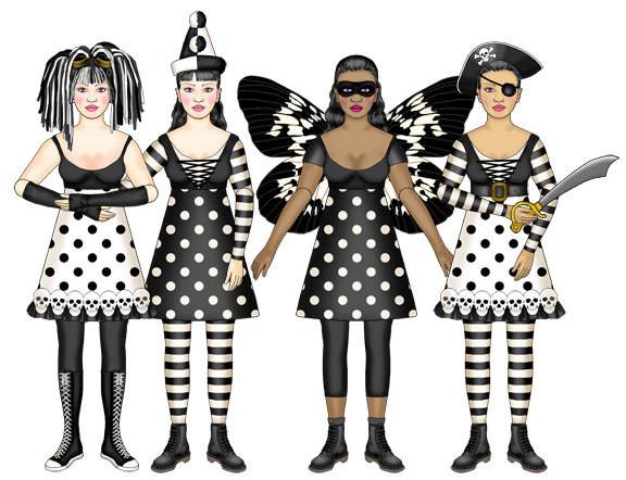 Raven Halloween Paper Dolls