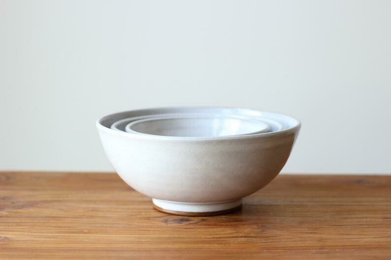 Nesting Bowls in Stoneware White